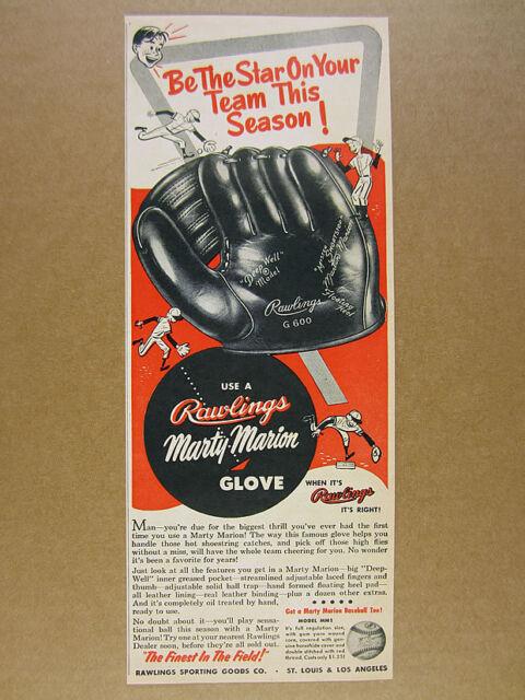 1954 Rawlings Marty Marion G600 Baseball Glove vintage print Ad