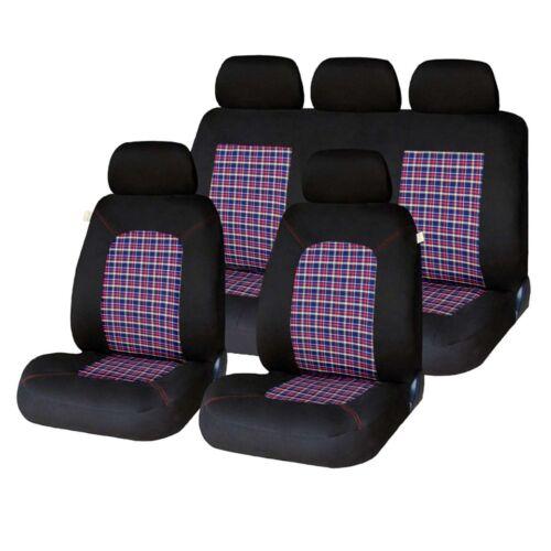 9 Piece Tartan Chequered GTI Look Seat Covers Fiat Brava Bravo Punto Panda 500