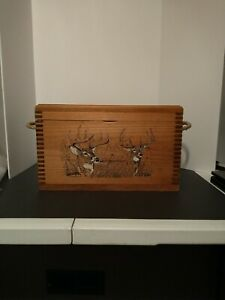 Buck Doe Deer Image Dovetailed Wooden Storage Box With Hinged Lid Ammo Crate Ebay