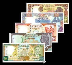 SYRIA full banknotes set of 50 100 200 500 1000 2000 LIRA 2009 2013 2015 Syrie