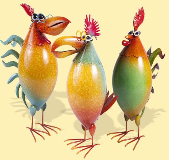 Vogel bunt, witzig, 34 cm groß, Metall (S300104) Garbenfigur Gartendeko