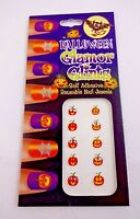 Halloween Nail Decals Pumpkins Rhinestones Adhesive Easy To Use