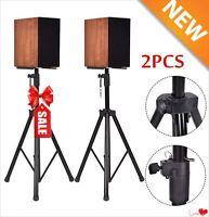 2 x Black Tripod DJ PA Speaker Stands Steel Frame Universal Adjustable - Pair KN