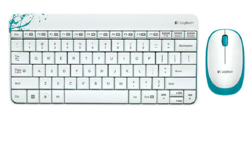 White Logitech 2.4Ghz MK240 Mini Wireless Keyboard and Mouse Combo W/Receiver