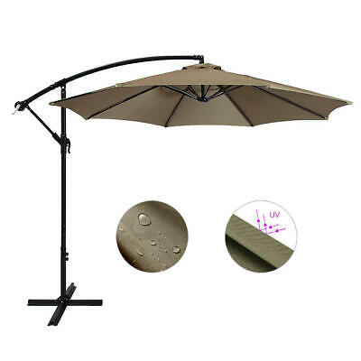 10Ft Patio Umbrella W/ Cross Base Outdoor Banana Shape Sunshade - GreenWise™