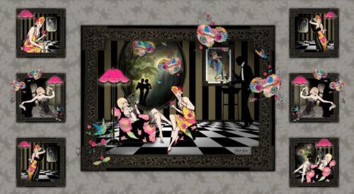 Stoff Patchwork Baumwolle Dance /& Romance grau 20er Jahre Rosen Schmetterlinge