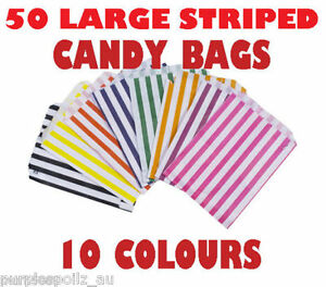 50-LARGE-CANDY-BAGS-Buffet-Lolly-Bar-Wedding-Paper-Stripe-Striped-Party-Gift