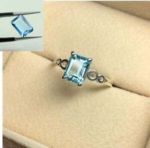 Solitaire Ring Made From 925 Silver With Blue Topaz Light Blue Emerald Gemstone