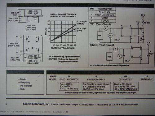 DALE XO-52AAE-60 3.2768MHZ Clock Oscillator Hybrid Crystal *NEW* Qty.5