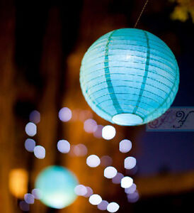 9x 30cm white blue paper lanterns 9 led lights birthday party hanging decoration