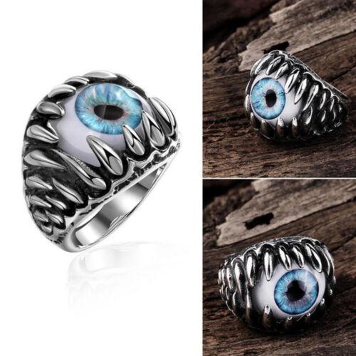 Men/'s Retro Punk Biker Stainless Steel Black Silver Blue Eyeball Evil Eye Rings