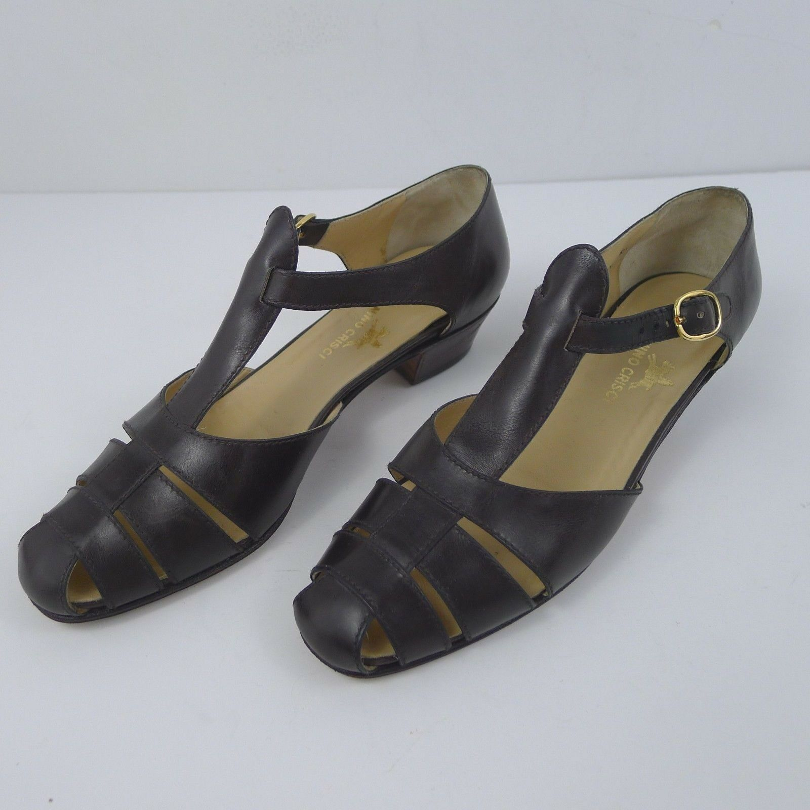 Vintage Tanino Crisci Crisci Crisci Donna  Low Heels Leather Sandals Made in  US 6.5 80f835