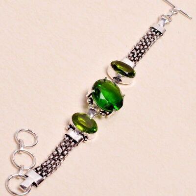 "Bracelets Green Quartz,peridot Gems Handmade Bracelet Sz 7.5"" Jewelry 0302 Year-End Bargain Sale"