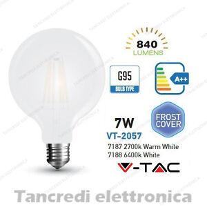 Lampadina-led-V-TAC-7W-E27-VT-2057-G95-frost-bianca-filamento-lampada-opaca-bulb