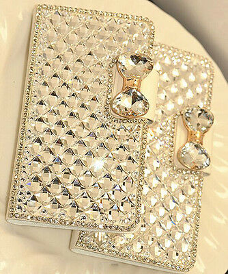 Luxury Bling Bowknot Diamond Wallet Flip Phone Case Cover For iPhone Samsung