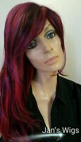 Realistic Dark Cranberry Wig W Layers. Highlights Of Purple & Red Unusual Color