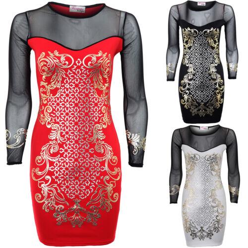 Ladies Gold Silver Foil Print Black Mesh Full Sleeve Bodycon Short Women/'s Dress