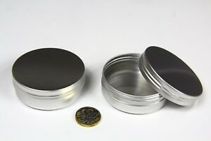 Round Metal Aluminium Tin 60ml Camping Survival Kit Storage Stash Pot 70 x 25mm