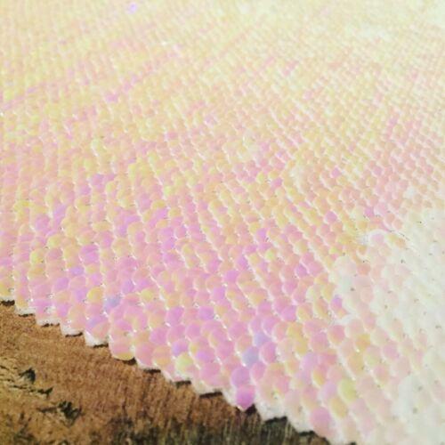 Iridiscente Rosa y Blanco Reversible 5 mm con lentejuelas de tela con cierre Magnético dos tonos sirena Paño