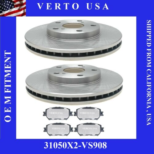 /& 6 Cyl Front Brake Rotors /& Metallic Pads Fit Toyota Camry 2002-2006 4Cyl LE