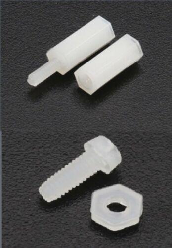 200pc Set de Filetage M2 en plastique nylon écrou hexagonal Spacer Vis pilier PCB Board Blanc