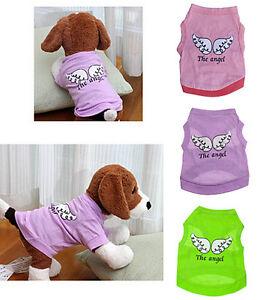 CHIOT-ANIMAL-PETIT-CHIEN-CHAT-ailes-d-039-ange-Gilet-Ete-Vetements-T-shirt-costume