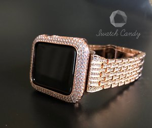 super popular 97f3c fc5a5 Details about Apple Watch Band 44mm S4 Rose Gold Rhinestone SS Case Cover  Bezel Lab Diamond