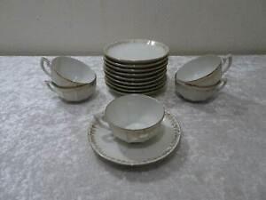 15-PC-Convolute-M-amp-S-Design-Porcelain-Coffee-Service-France-Vintage
