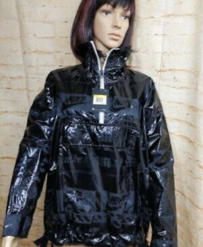 Gentle Nike Sportswear Metallic Jacket Triple Black 914210-010 New Women's Size L