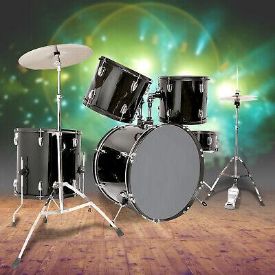 5 piece complete adult drum set cymbals full size kit with stool sticks black 713924998819 ebay. Black Bedroom Furniture Sets. Home Design Ideas