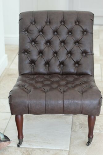 Excellent Condition Faux Leather Occasional Chair Brown