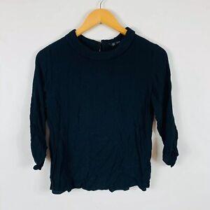 Zara-Womens-Top-Size-Medium-AU-8-10-Black-Long-Sleeve-Good-Condition-Viscose