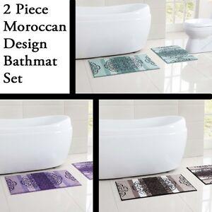 2 Piece Low Pile Plush Bath Rug Set With Moroccan Design
