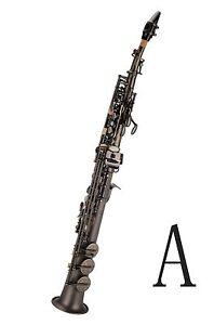 100-New-Professional-Bb-Antique-Matt-Black-Soprano-Saxophone-With-Case