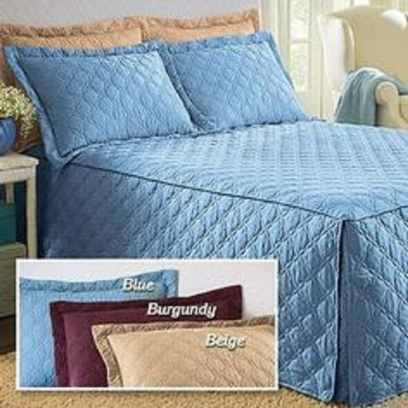 Luxurious Microfiber Bedspread Bed Cover Coverlet Diamond Loop Quilting NEW