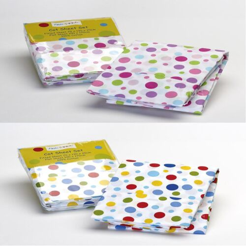 100% Cotton Baby Cot Sheet Set Polkadot Spot Blue Pink Fiited and Flat Sheet