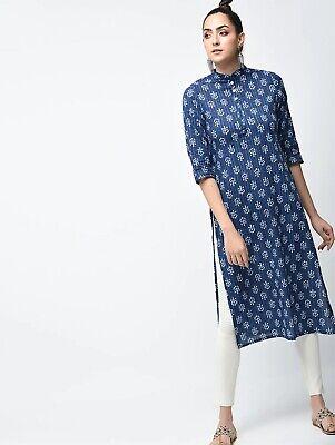 Indian Ethnic Fashion Blue Indigo Cotton Long Kurti Kurta Women Tunic Top Casual