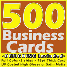 500 Business Cards Full Color 2 Side Printing UV Coated-Free Design & Shipping