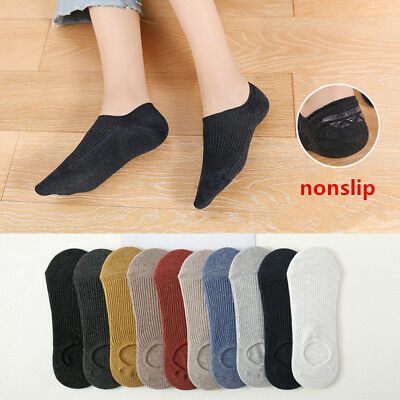 5-10 Pairs Mens Loafer Boat Invisible No Show Nonslip Liner Low Cut Cotton Socks