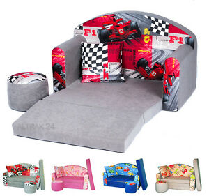 kindersofa spielsofa mit bettfunktion 3in1 kissen matratze couch 24 farben. Black Bedroom Furniture Sets. Home Design Ideas