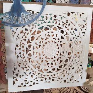 Details About Mandala Boho Shabby Chic White Wsh Wood Wall Art Hanging Panel Carving Bali 60cm