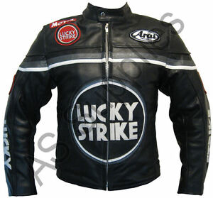 LUCKY-STRIKE-Veste-de-Moto-en-Cuir-Blouson-Motard-Noir-Gris