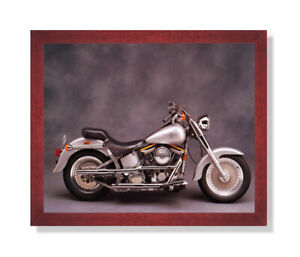 Silver Harley Davidson Fatboy Motorcycle Wall Picture Cherry Framed Art Print Ebay