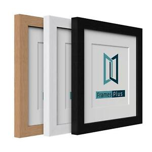 Box Picture Photo Frame with Mount Wood effect Black White Oak Square Sizes