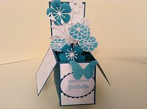 Excellent Handmade Card Happy Birthday Grandmother Flowers In A Box Pop Funny Birthday Cards Online Alyptdamsfinfo