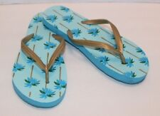 f0445bd74 Blue Palm Tree Women s Flip Flops With Gold Upper Size 7 8M FREE Shipping!