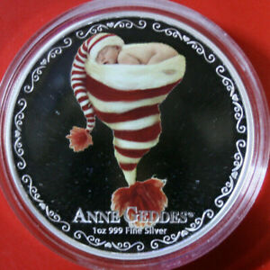 """Niue 2 dollars 2014 """"Anne Geddes"""" plata 1 Oz #f3821 colored pp-proof 2.000 St."""