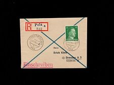 Germany WWII Adria Deutsche Dienstpost Registered 42pf Hitler Pola 1944 Cover 1p