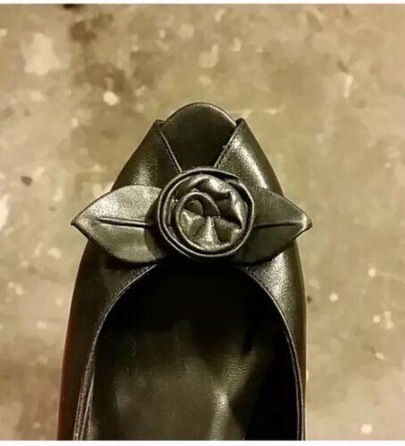 5 tamaño de Bombas 7 negro toe vintage cuero peep q6H8w6Y