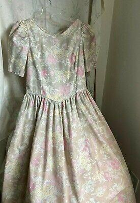 size 1314 MINT condition sun dress Vintage 90s cotton back smocking dark floral